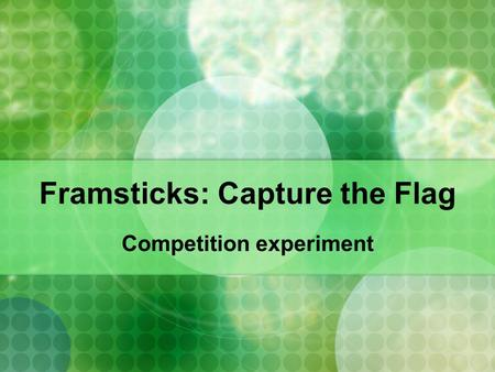 Framsticks: Capture the Flag Competition experiment.