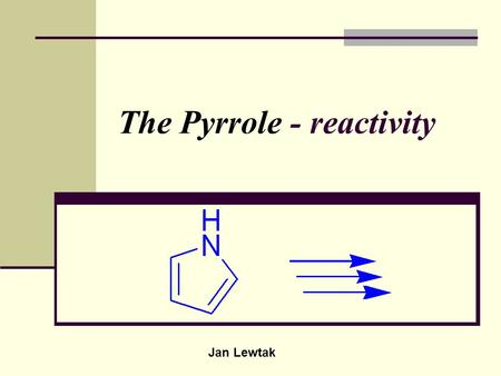 The Pyrrole - reactivity Jan Lewtak. Pyrrole - numbering.