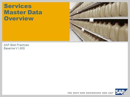 Services Master Data Overview SAP Best Practices Baseline V1.605.