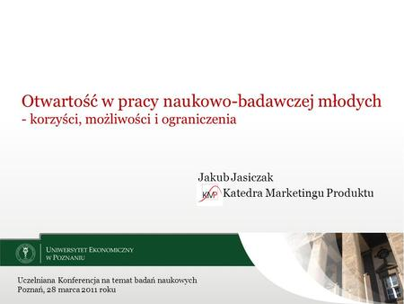 Jakub Jasiczak Katedra Marketingu Produktu