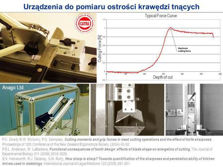 1 /6 Urządzenia do pomiaru ostrości krawędzi tnących Typical Force Curve Depth of cut Cutting Force [N] P.C. Dowd, R.W. McGorry, P.G. Dempsey, Cutting.