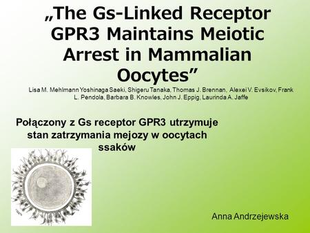 The Gs-Linked Receptor GPR3 Maintains Meiotic Arrest in Mammalian Oocytes Połączony z Gs receptor GPR3 utrzymuje stan zatrzymania mejozy w oocytach ssaków.