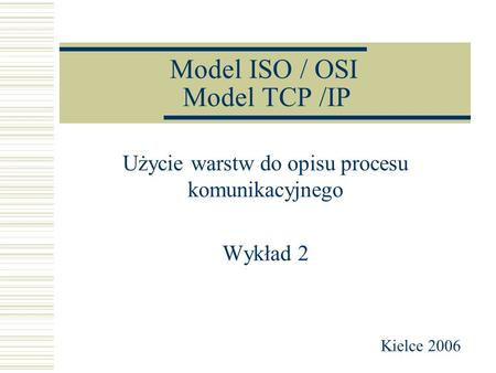 Model ISO / OSI Model TCP /IP