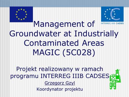 Management of Groundwater at Industrially Contaminated Areas MAGIC (5C028) Projekt realizowany w ramach programu INTERREG IIIB CADSES Grzegorz Gzyl Koordynator.