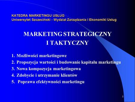 MARKETING STRATEGICZNY