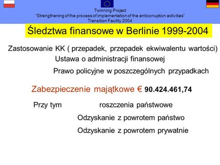 Twinning Project Strengthening of the process of implementation of the anticorruption activities Transition Facility 2004 Śledztwa finansowe w Berlinie.