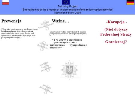 Twinning Project Strengthening of the process of implementation of the anticorruption activities Transition Facility 2004 -Korupcja - -Korupcja - (Nie)