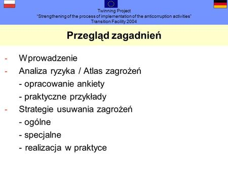 Twinning Project Strengthening of the process of implementation of the anticorruption activities Transition Facility 2004 Przegląd zagadnień - Wprowadzenie.
