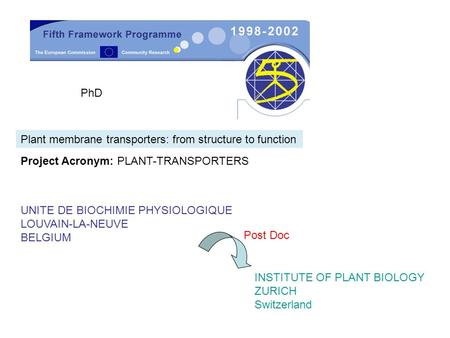 PhD Plant membrane transporters: from structure to function