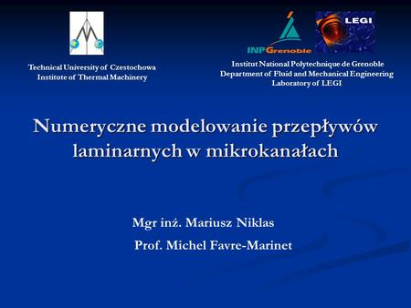 Numeryczne modelowanie przepływów laminarnych w mikrokanałach Mgr inż. Mariusz Niklas Prof. Michel Favre-Marinet Technical University of Czestochowa Institute.