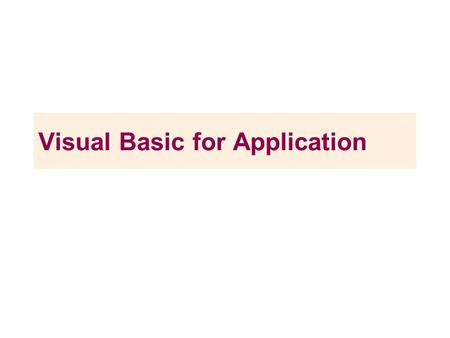 Visual Basic for Application