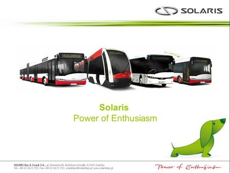 Solaris Power of Enthusiasm.
