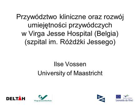 Ilse Vossen University of Maastricht
