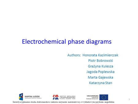 Electrochemical phase diagrams 1 Authors: Honorata Kazimierczak Piotr Bobrowski Grażyna Kulesza Jagoda Poplewska Marta Gajewska Katarzyna Stan Interdyscyplinarne.