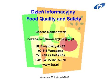 Dzień Informacyjny Food Quality and Safety