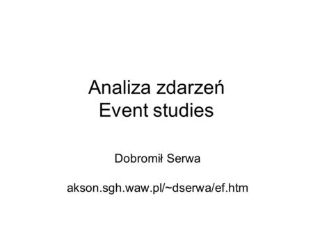 Analiza zdarzeń Event studies