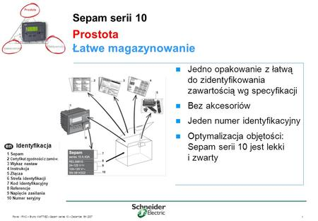 Power / PMC – Bruno WATTIEZ – Sepam series 10 – December 5th 2007 1 Prostota Łatwe magazynowanie Sepam serii 10 Jedno opakowanie z łatwą do zidentyfikowania.