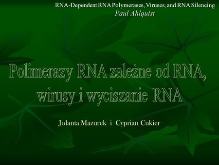 RNA-Dependent RNA Polymerases, Viruses, and RNA Silencing Paul Ahlquist Jolanta Mazurek i Cyprian Cukier.