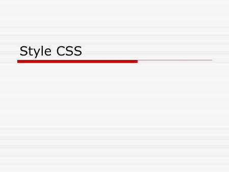 Style CSS.