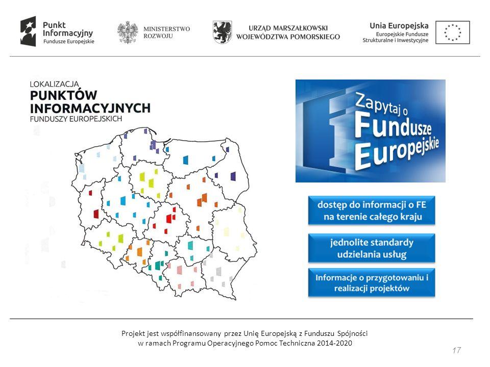 Projekt jest współfinansowany przez Unię Europejską z Funduszu Spójności w ramach Programu Operacyjnego Pomoc Techniczna 2014-2020 Główny Punkt Informacyjny Funduszy Europejskich ul.