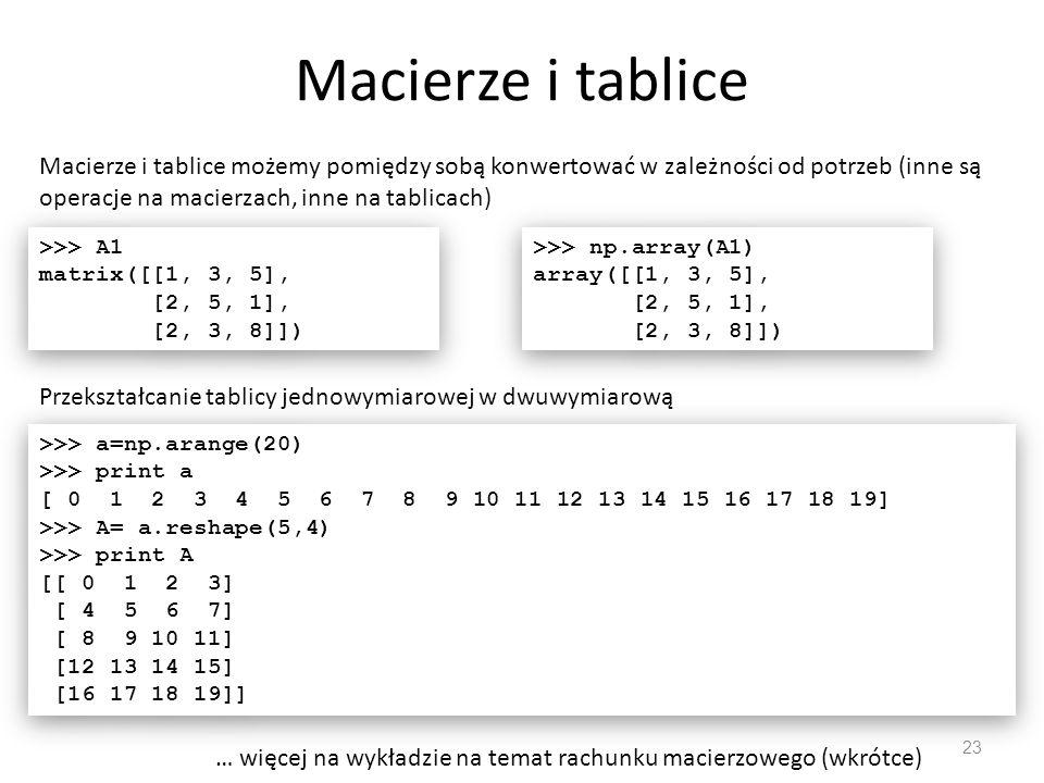 Przykładowe zastosowania numpy 24 Rozwiąż układ równań liniowych >>> A = np.mat( [1,3,5; 2,5,1; 2,3,8] ) >>> b =np.mat([10,8,3]) >>> b1=np.transpose(b) >>> np.linalg.solve(A,b1) matrix([[-9.28], [ 5.16], [ 0.76]]) >>> A = np.mat( [1,3,5; 2,5,1; 2,3,8] ) >>> b =np.mat([10,8,3]) >>> b1=np.transpose(b) >>> np.linalg.solve(A,b1) matrix([[-9.28], [ 5.16], [ 0.76]])