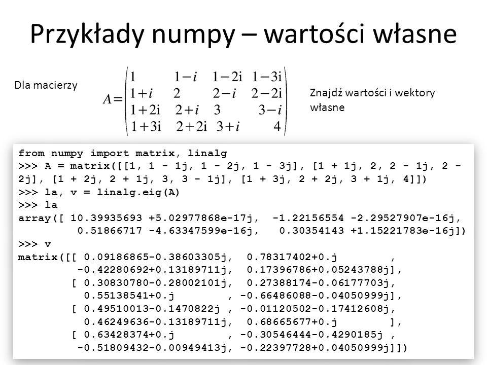 Przykłady numpy - interpolacja 29 Dla funkcji danej tablicą Wykonaj interpolację z użyciem krzywych sklejanych.