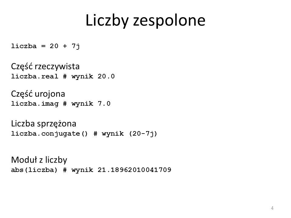 Liczby zespolone - działania 5 Niech L 1 = (a 1 + b 1 j), L 2 = (a 2 + b 2 j) L 1 + L 2 = (a 1 + a 2 ) + (b 1 + b 2 )j L 1 - L 2 =(a 1 + b 1 j) - (a 2 + b 2 j) = (a 1 - a 2 ) + (b 1 - b 2 )j L 1 · L 2 = (a 1 a 2 - b 1 b 2 ) + (a 1 b 2 + a 2 b 1 )j L 1 / L 2 = (a 1 a 2 - b 1 b 2 )/(a 2 2 + b 2 2 ) + (a 2 b 1 - a 1 b 2 )/(a 2 2 + b 2 2 )j (20 + 10j) + (10 + 20j) (20 + 10j) - (10 + 20j) (2 + 2j) * (3 + 3j) (9 + 9j) / (3 + 3j) wynik (30 + 30j) wynik (10 - 10j) wynik 12j wynik (3 + 0j)