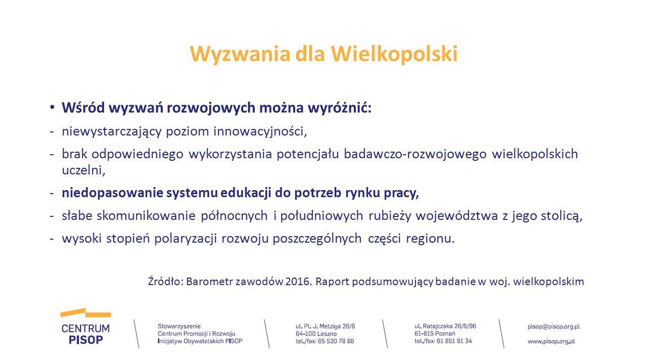 Wyzwania dla Wielkopolski Priorytety wyznaczone przez Komisję Europejską postawiły przed regionami nowe wymagania związane z rozwojem inteligentnych specjalizacji.