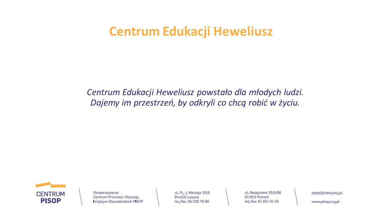 Centrum Edukacji Heweliusz Zajęcia w ramach Centrum rozpoczynają się od: -Warsztatów z coachem Spotkanie z coachem to możliwie najlepszy rozpęd dla edukacji – pomaga nadać świadomy kierunek, podpowiada, czego szukać podczas zajęć.