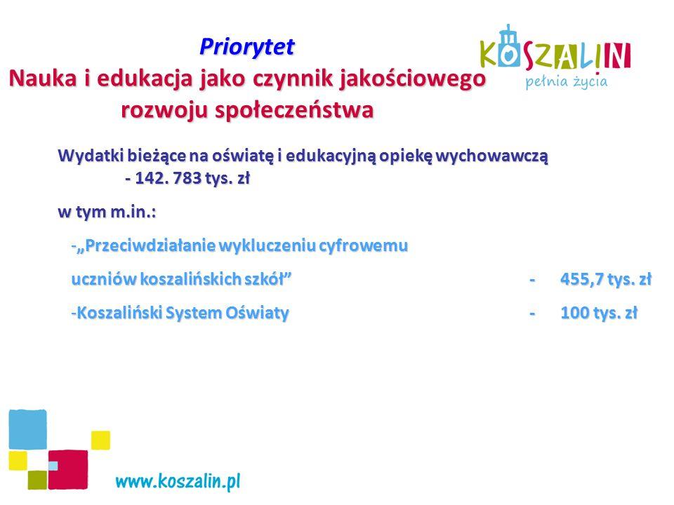 Priorytet Nauka i edukacja jako czynnik jakościowego rozwoju społeczeństwa Wydatki majątkowe na oświatę- 25.