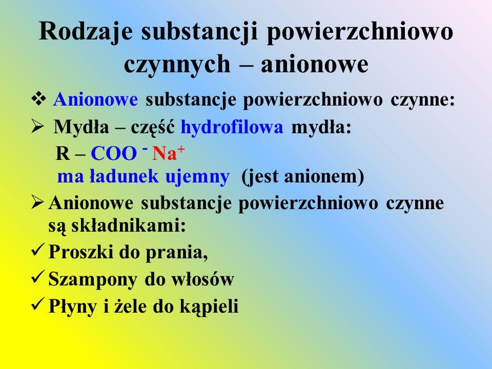 Rodzaje substancji powierzchniowo czynnych – kationowe  Substancje powierzchniowo czynne – kationowe  Sole amin – część hydrofilowa ma ładunek dodatni (jest kationem)  Przykłady: R - NH 3 + Cl - (długołańcuchowa sól aminy) R - N(CH 3 ) 2 + Cl - (trzeciorzędowy chlorek aminy)  Stosowane sporadycznie ze względu na trudniejszą biodegradowalność