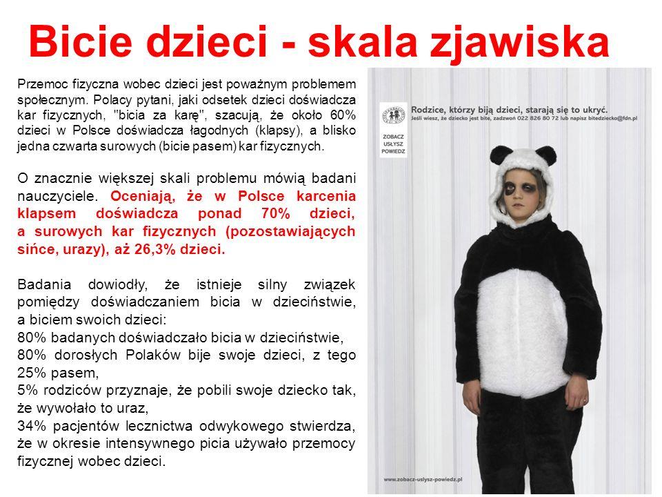 Wśród Polaków nie ma zgody co do oceny kar fizycznych: - aż 50% pytanych uznaje, że choć bicie dziecka przez rodzica za karę jest metodą, która nie powinna być stosowana, to są sytuacje, w których jest to usprawiedliwione - 35% badanych uznaje, że kary fizyczne nie powinny w ogóle być stosowane, - zwraca uwagę fakt, że 13% pytanych Polaków uznało, że kary fizyczne mogą być stosowane, jeśli rodzic uzna, że będzie to skuteczne.