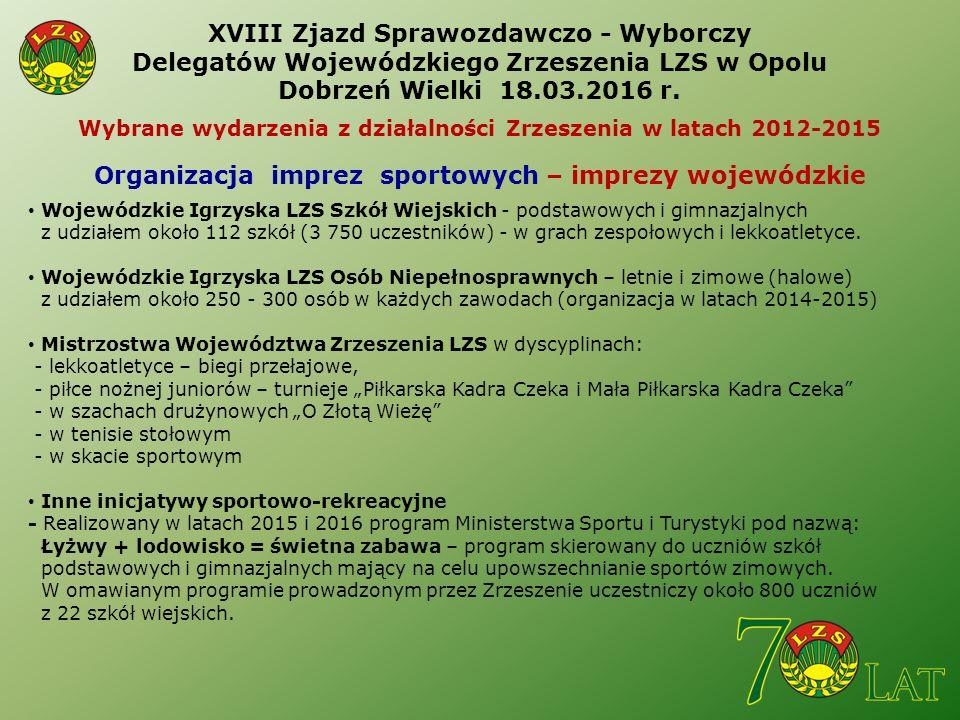 XVIII Zjazd Sprawozdawczo - Wyborczy Delegatów Wojewódzkiego Zrzeszenia LZS w Opolu Dobrzeń Wielki 18.03.2016 r.
