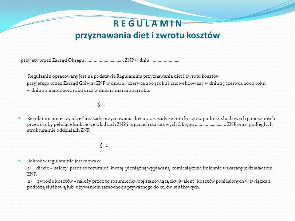 § 3 O przyznaniu diet członkom Prezydium Okręgu, osobom pełniących funkcje we władzach Okręgu ……………….