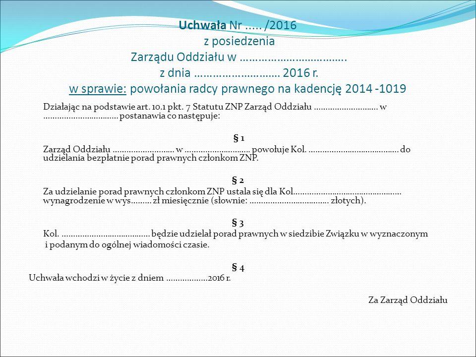 Uchwała Nr..../2016 z posiedzenia Zarządu Oddziału ZNP w …………………………..