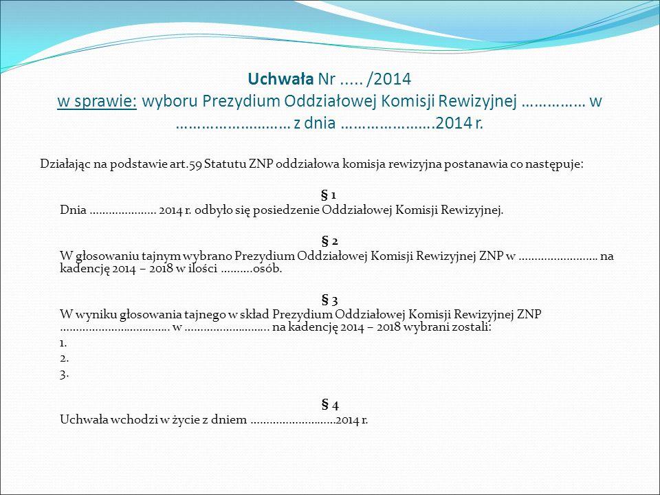Uchwała Nr......./2015 z posiedzenia Zarządu Oddziału ZNP w ………………..