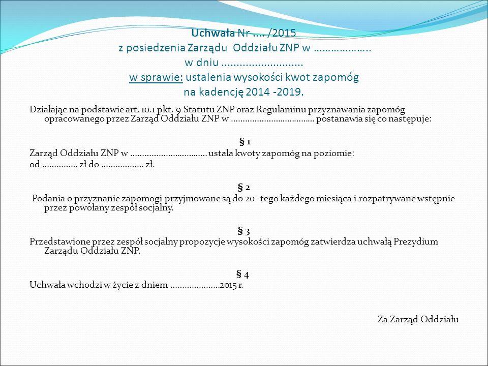 Uchwała Nr.../2015 z posiedzenia Prezydium Zarządu Oddziału ZNP w ………………..