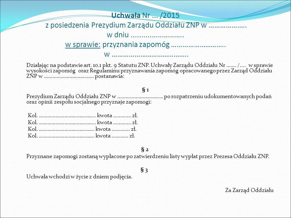 UCHWAŁA Nr...../2016 Zarządu Oddziału ZNP w …………………… z dnia ………………..
