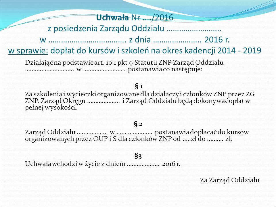 Uchwała Nr..../2016 z posiedzenia Zarządu Oddziału ZNP z dnia ………………..
