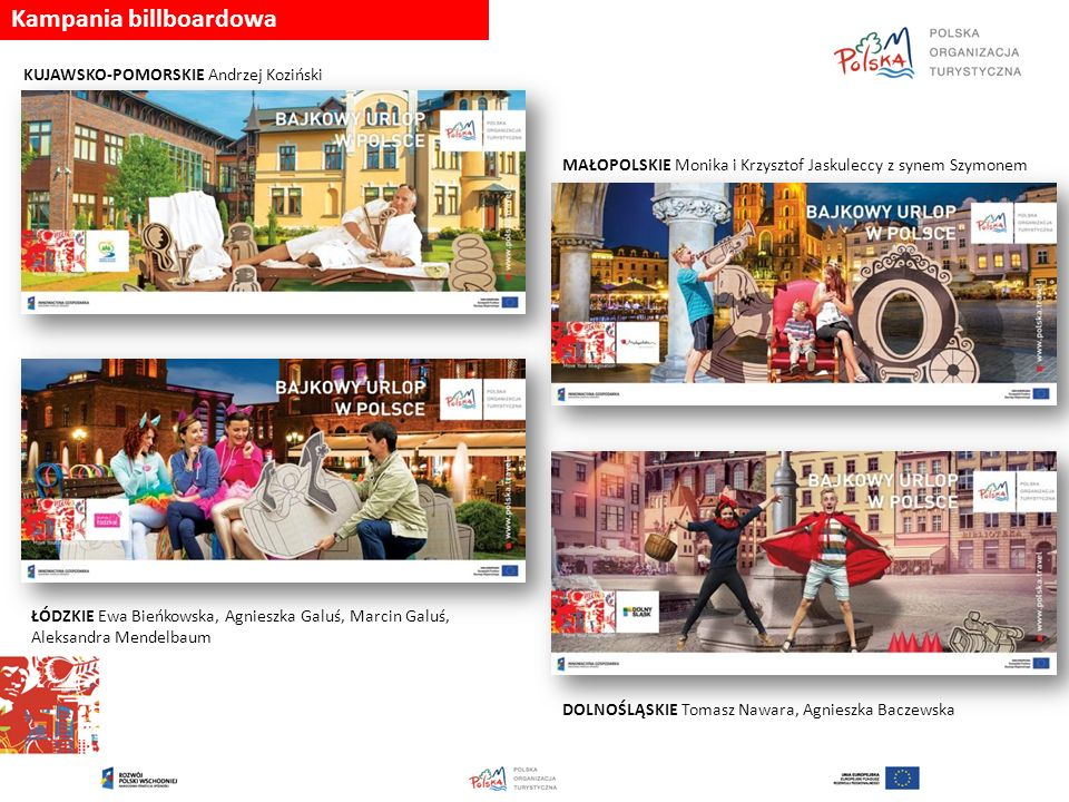 Kampania billboardowa LUBUSKIE Linda Mezali ŚLĄSKIE Dariusz Pustuła POMORSKIE Katarzyna Goliat, Jędrzej Rybakowski PODLASKIE Radosław Sławiński