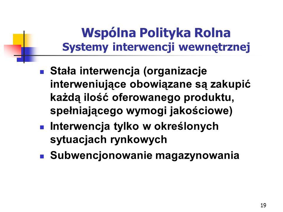 20 Wspólna Polityka Rolna systemy ochrony na granicy Zboża, ryż, cukier, wieprzowina, mleko, artykuły mleczarskie, mięso drobiu, jaja, oliwa z oliwek - zmienne opłaty wyrównawcze; Wołowina oraz owoce i warzywa - kombinowany (cła i zmienne opłaty wyrównawcze); Pozostałe rynki - cła