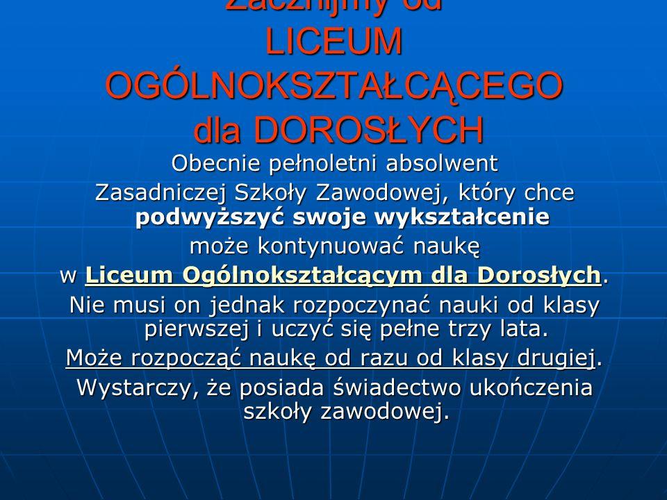 LICEUM OGÓLNOKSZTAŁCĄCE dla DOROSŁYCH c.d.