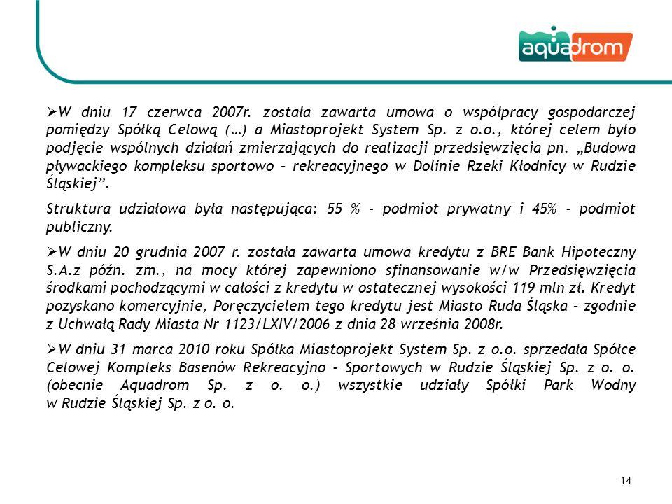 15 Jedynym Wspólnikiem Spółki Park Wodny w Rudzie Śląskiej Sp.