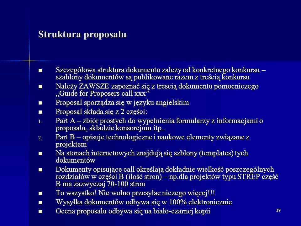 20 Przykład struktury części B proposalu – 1/2 Część B jest zwykle najważniejszą i najobszerniejszą częścią opisującą proposal Część B jest zwykle najważniejszą i najobszerniejszą częścią opisującą proposal Struktura dokumentu jest stała – składa się on z następujacych działów: Struktura dokumentu jest stała – składa się on z następujacych działów: Strategic objectives adressed Strategic objectives adressed Proposal abstract Proposal abstract Scientific and technological objectives of the project and state of the art.