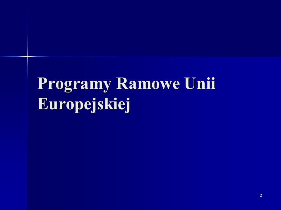 3 Programy Ramowe (PR) UE Programy Ramowe – programy do wspierania badań w Europie podzielone tzw.
