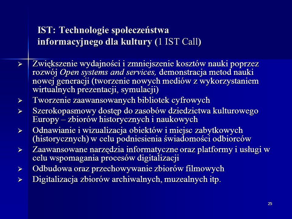 26 IST: Technologie społeczeństwa informacyjnego dla kultury (5 IST Call)  Stworzenie systemów i narzędzi, które umożliwiają nieograniczony dostęp i użytkowanie zasobów kulturalnych i naukowych  Badania nad metodami i systemami umożliwiającymi trwałą archiwizację zasobów cyfrowych