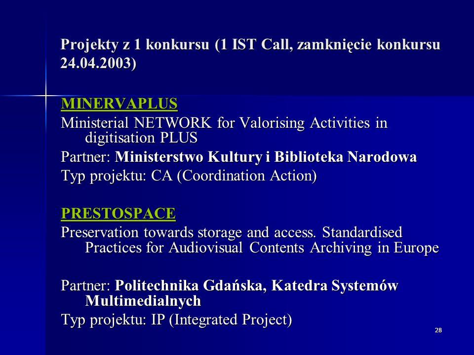 29 Projekt: PrestoSpace  PRESTOSPACE – Preservation towards storage and access.
