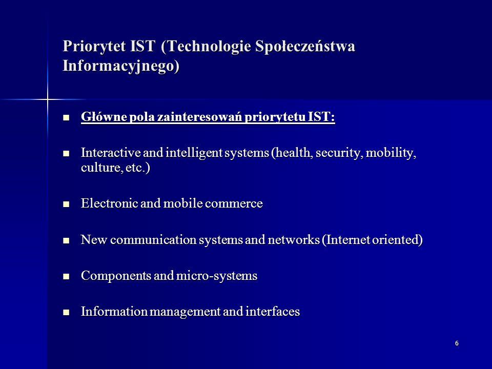 7 Priorytet IST - Rodzaje projektów