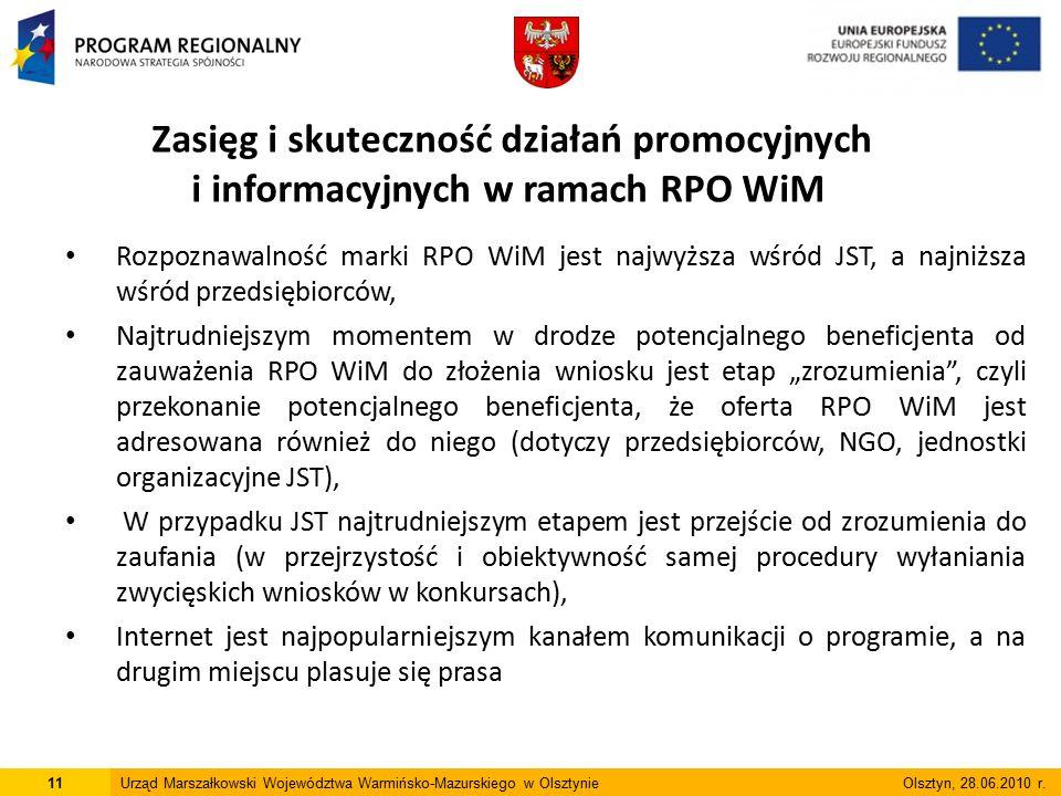 Lp Wnioski wynikające z badania Rekomendacje przyjęte przez IZ RPO WiM do wdrożenia Skuteczność promocji 1 Rozpoznawalność marki RPO WiM (16%) Zróżnicować przekaz promocyjny do poszczególnych grup potencjalnych beneficjentów w celu zwiększenia rozpoznawalności marki RPO WiM.