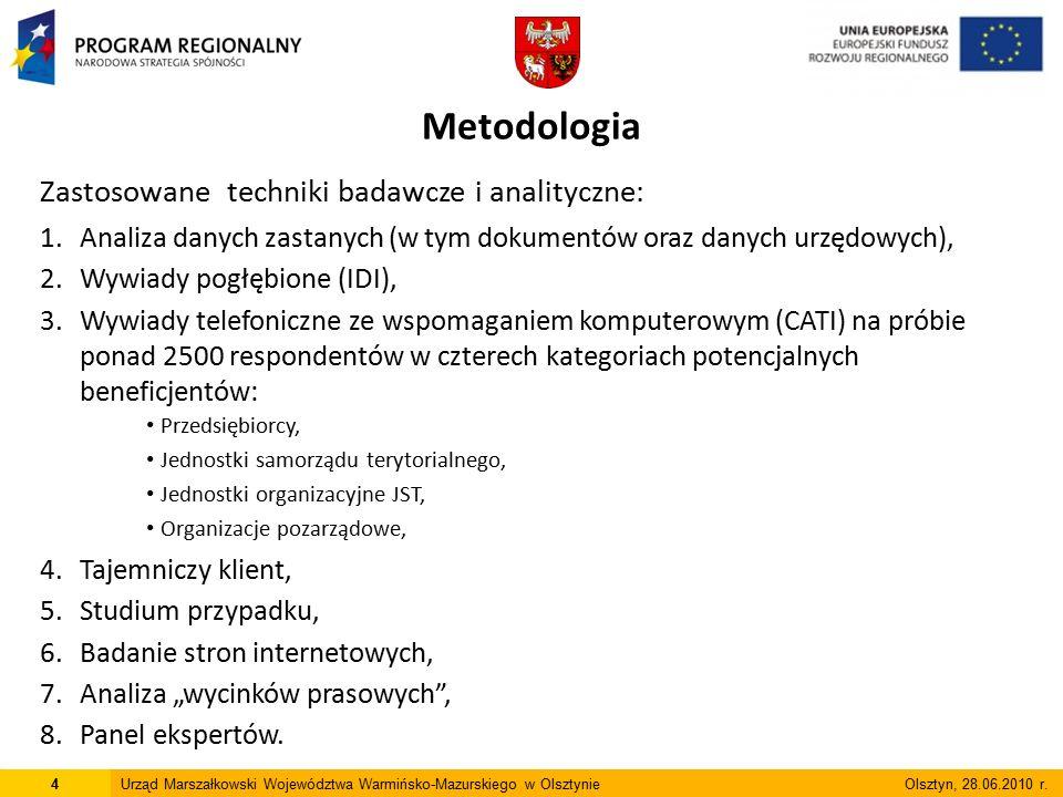 Badanie jest pierwszym w województwie warmińsko-mazurskim, zrealizowanym w tak szerokim zakresie: 1.Obejmuje perspektywę finansową 2004-2006 oraz 2007-2013 (analiza zestawień danych dotyczących wniosków i umów spośród 12 programów operacyjnych) 2.Badanie opinii licznej grupy respondentów (Metoda CATI): 102 Jednostki Samorządu Terytorialnego (tj.